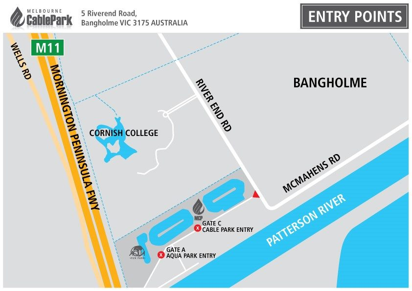 map of Melbourne Cable Park